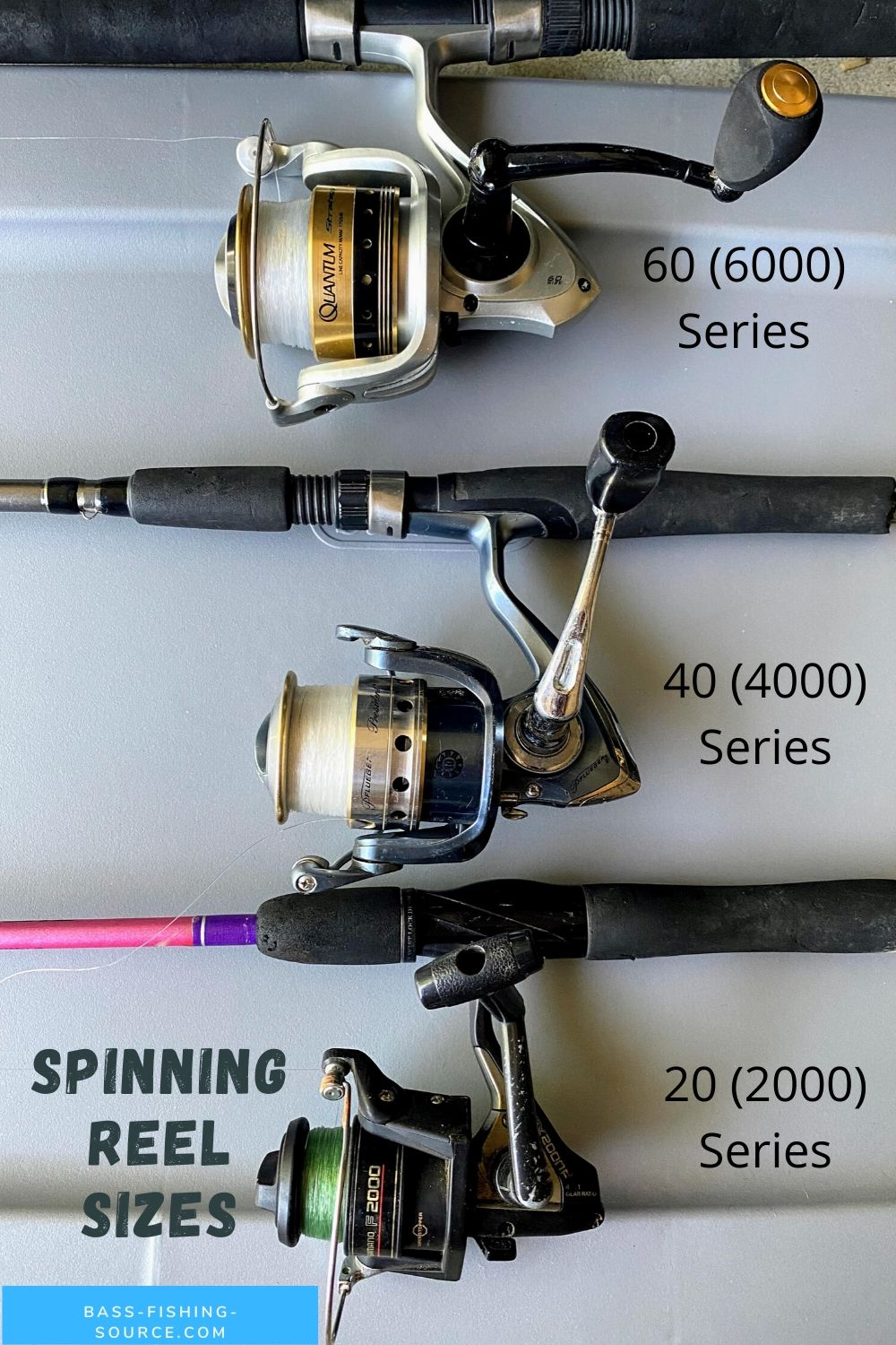 What different sizes of spinning reels look like.