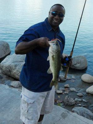 First bass which was the first fish caught on my birthday gift which was a Berkley Tactix rod.